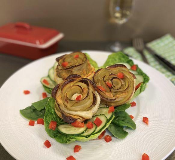 Rosas de patata en hojaldre